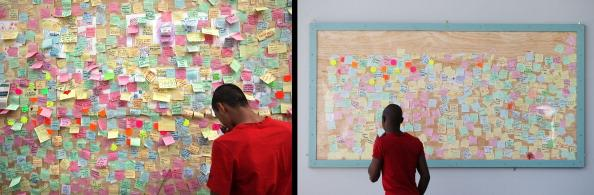 In this composite image (Left Photo) A man looks at notes posted on a 'Peace Wall' on a boarded up window of a discount store in Peckham on August 10, 2011 in London, England. (Right Photo) The Peckham peace wall has been preserved outside the library, one year on from the riots. August 6th marks the one year anniversary of the England riots, over the course of four days several London boroughs, and districts of cities and towns around England suffered widespread rioting, looting and arson as thousands took to the streets. (Peter Macdiarmid/Getty Images)