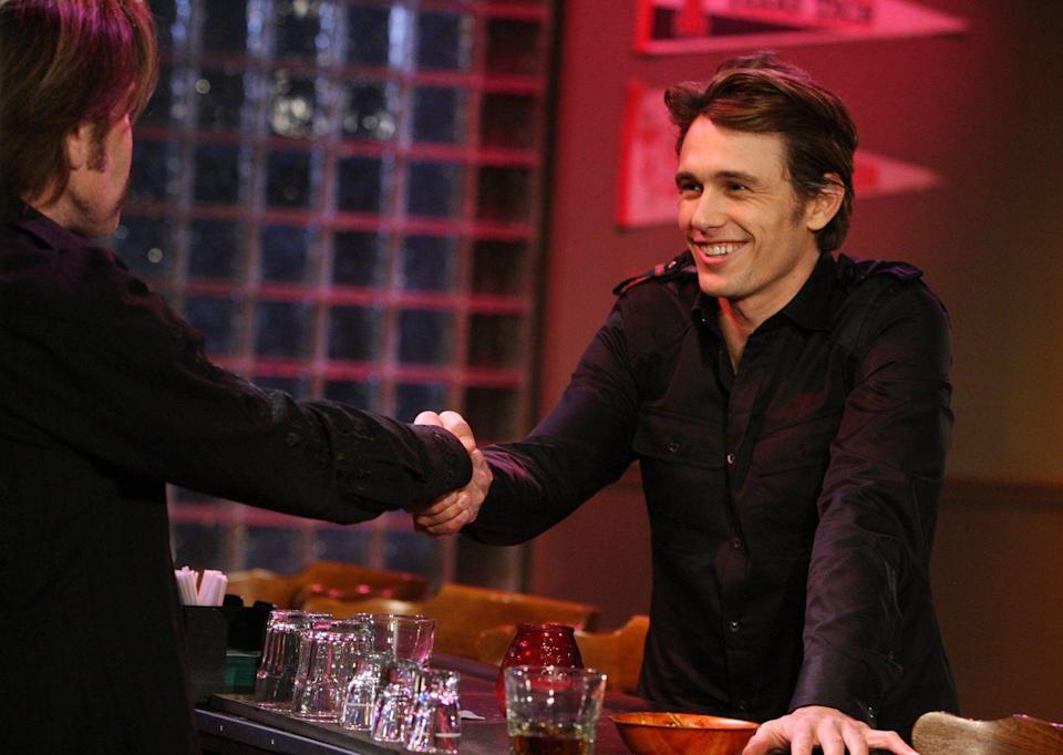 """<p>James Franco shocked everyone when he took on not only a cameo on <em>General Hospita</em><em>l</em>, but a recurring role that lasted years. From 2009 until 2012, James played a conceptual artist/sociopath/serial killer named Franco (it's confusing, we know). His character was obsessed with killer, Jason Morgan, and Franco ended up kidnapping Morgan's girlfriend and best friend. The following year, James and fictional character Franco did an exhibit at the Museum of Contemporary Art in Los Angeles called """"Francophrenia: Dissolving the Boundary Between Illusion and Reality.""""<br></p>"""