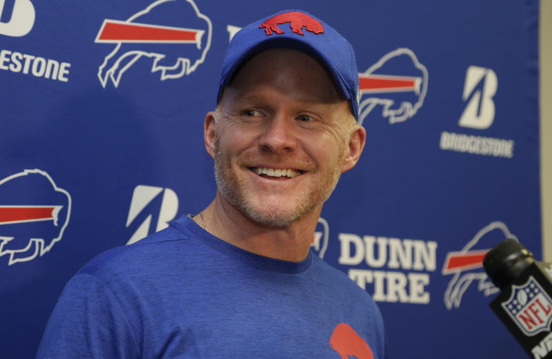 Buffalo Bills head coach Sean McDermott smiles after his team beating the Dolphins on Sunday. (AP)