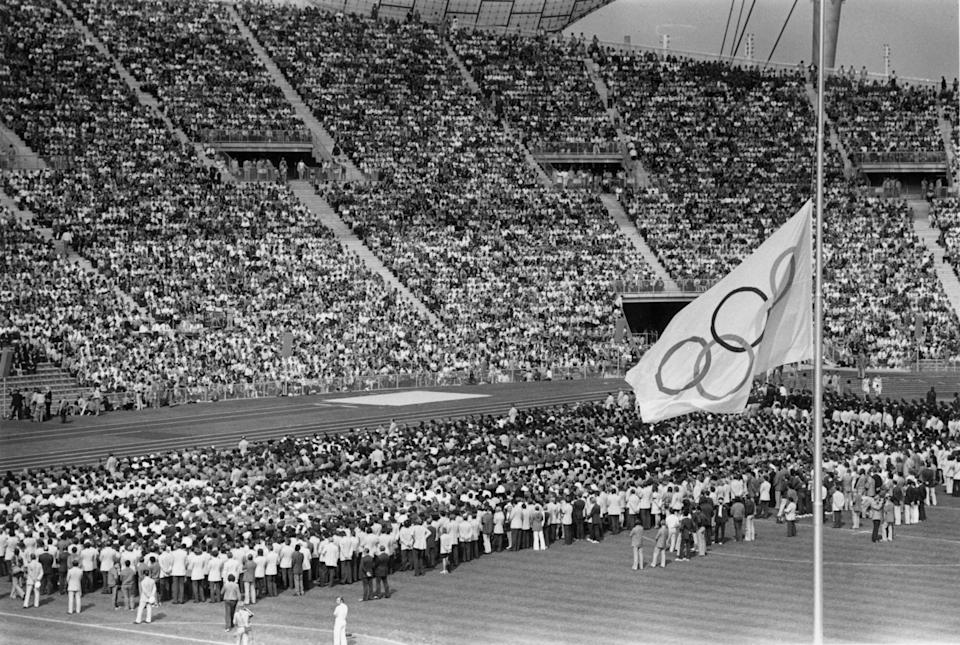 6th September 1972:  The Olympic flag flying at half-mast in the Olympic Stadium in Munich during the memorial service for the Israeli athletes who were killed by Arab terrorists the previous day.  (Photo by Keystone/Getty Images)