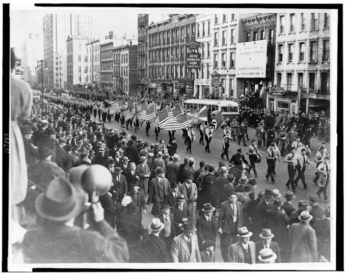 A German American Bund march in New York City