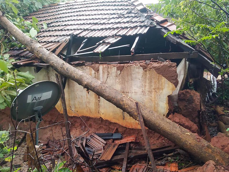 An uprooted tree that fell on a house damaged due to cyclone Nivar yesterday night, in Puducherry