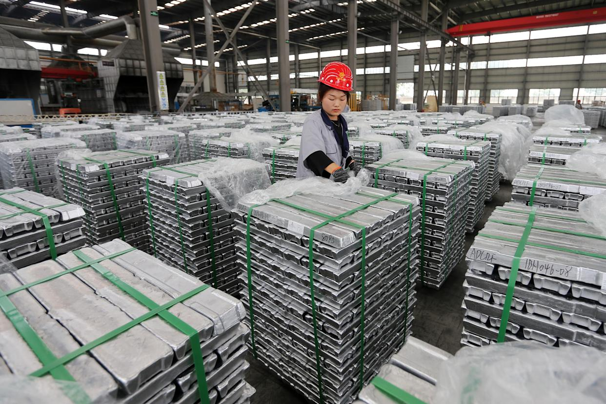 SUIXI, CHINA - AUGUST 13 2021: A woman works in a factory of aluminium products in Suixi county in central China's Anhui province Friday, Aug. 13, 2021. (Photo credit should read Feature China/Barcroft Media via Getty Images)