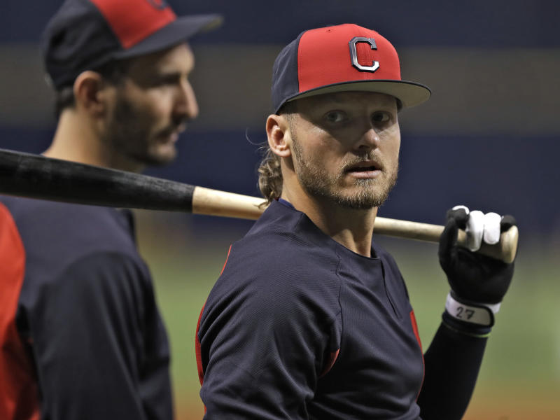 Cleveland Indians' Josh Donaldson awaits his turn in the batting cage before a baseball game against the Tampa Bay Rays, Monday, Sept. 10, 2018, in St. Petersburg, Fla. Donaldson was acquired in a trade with the Toronto Blue Jays. (AP Photo/Chris O'Meara)
