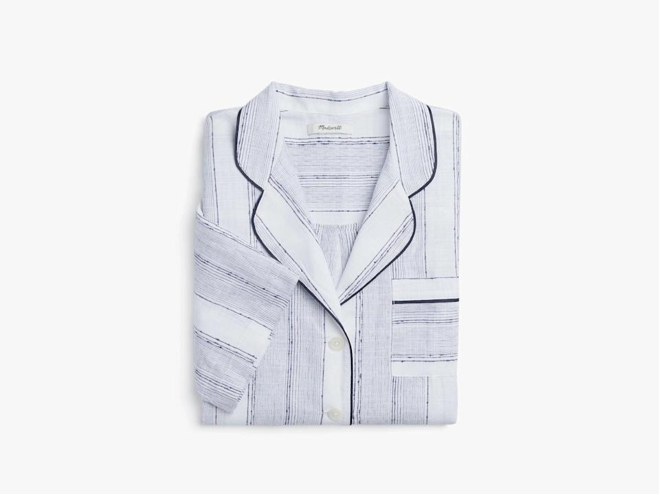 "<h3>Madewell x Parachute Striped Oversized Pajama Shirt</h3> <br>Granted, you may not be getting a <em>ton</em> of sleep (one day, years from now, we promise that you'll look back on this time with joy), but upgrade the valuable shut-eye time you have with a comfy, classic pajama set.<br><br><strong>Madewell x Parachute</strong> Striped Oversized Pajama Shirt, $, available at <a href=""https://go.skimresources.com/?id=30283X879131&url=https%3A%2F%2Fwww.parachutehome.com%2Fproducts%2Fstriped-oversized-pajama-shirt"" rel=""nofollow noopener"" target=""_blank"" data-ylk=""slk:Parachute Home"" class=""link rapid-noclick-resp"">Parachute Home</a><br><br><strong>Madewell x Parachute</strong> Striped Oversized Pajama Shorts, $, available at <a href=""https://go.skimresources.com/?id=30283X879131&url=https%3A%2F%2Fwww.parachutehome.com%2Fproducts%2Fstriped-oversized-pajama-shorts"" rel=""nofollow noopener"" target=""_blank"" data-ylk=""slk:Parachute Home"" class=""link rapid-noclick-resp"">Parachute Home</a><br>"