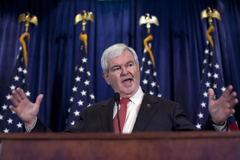 Republican presidential candidate, former House Speaker Newt Gingrich speaks in Duluth, Ga., Tuesday, March 6, 2012. (AP Photo/Evan Vucci)