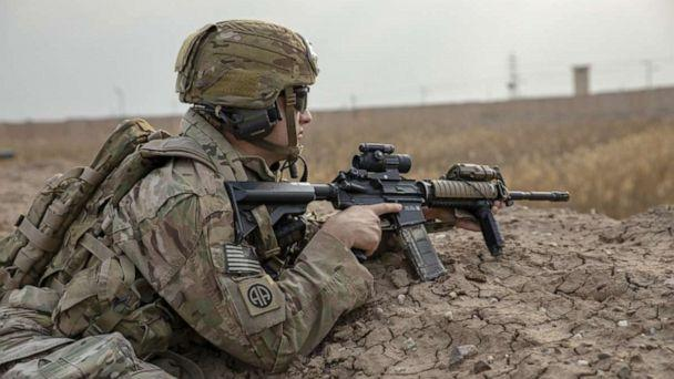 PHOTO: A U.S. Army paratrooper assigned to the 82nd Airborne Division pulls security during a base defense exercise on Camp Taji, Iraq, Jan. 19, 2020. (U.S. Army )