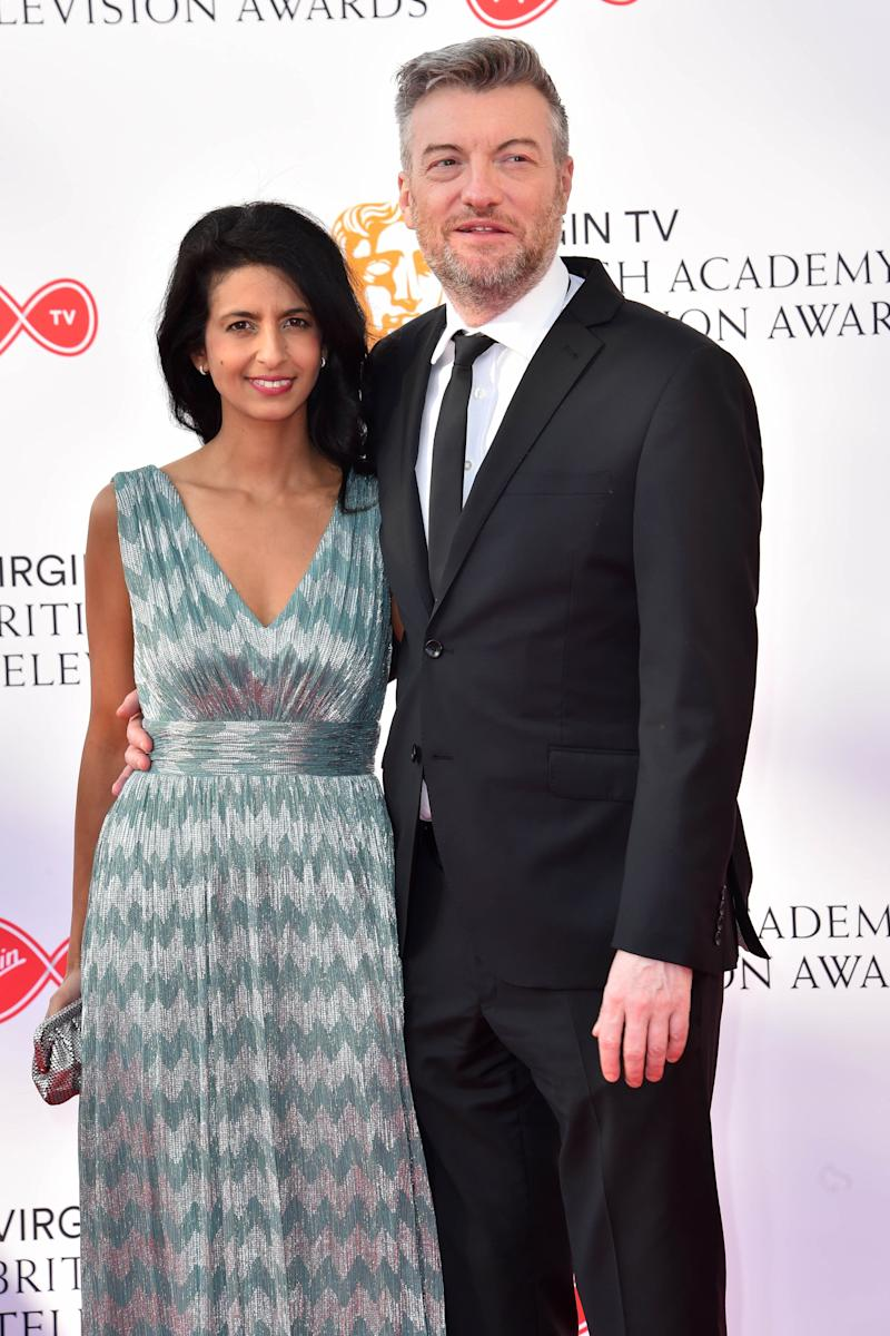 Charlie Brooker and Konnie Huq attending the Virgin TV British Academy Television Awards 2018 held at the Royal Festival Hall, Southbank Centre, London.