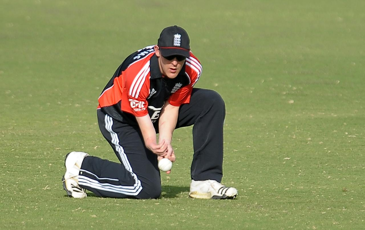 England disabled cricket captain James Williams field a ball during the T20 match between England Disaballity team and Pakistan Disaballity team at the ICC Global Cricket Academy (ICC GCA) in Dubai Sports City on February 11, 2012. Pakistan beat England in the first-ever Twenty20 match between the physically challenged cricket teams by 14 runs. AFP PHOTO/ LAKRUWAN WANNIARACHCHI (Photo credit should read LAKRUWAN WANNIARACHCHI/AFP/Getty Images)