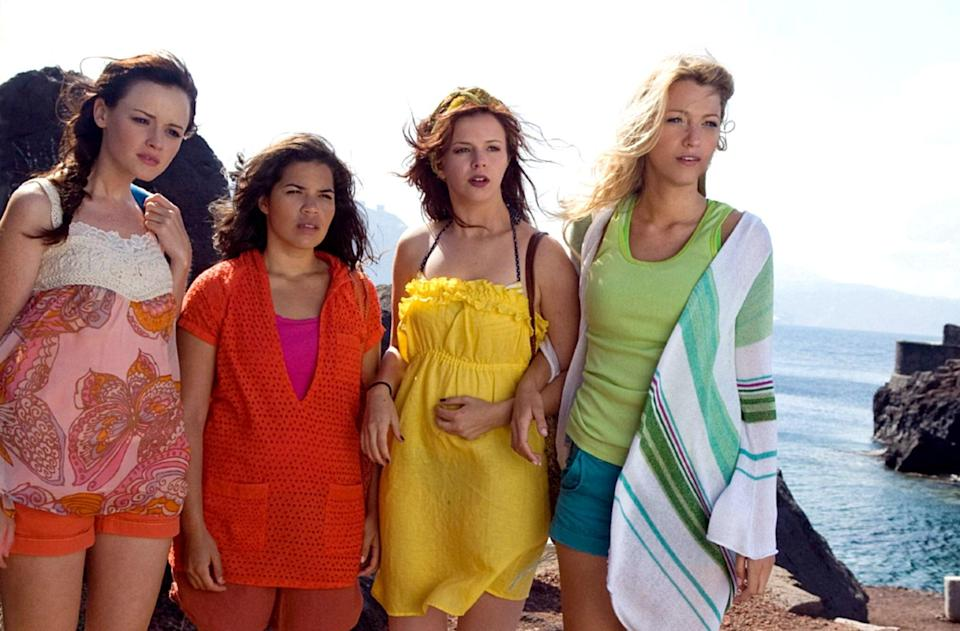 """<p>You basically get four vacations out of this movie about a group of best friends—played by Blake Lively, America Ferrera, Alexis Bledel, and Amber Tamblyn—who discover a pair of magic jeans just before they all separate for their various summer plans. Sorry to the others, but Lena (Bledel) kind of has the best one: a trip to Greece, where she falls in love. </p> <p><em>Available to rent on</em> <a href=""""https://www.amazon.com/Sisterhood-Traveling-Pants-Amber-Tamblyn/dp/B001QM43E0"""" rel=""""nofollow noopener"""" target=""""_blank"""" data-ylk=""""slk:Amazon Prime Video"""" class=""""link rapid-noclick-resp""""><em>Amazon Prime Video</em></a></p>"""