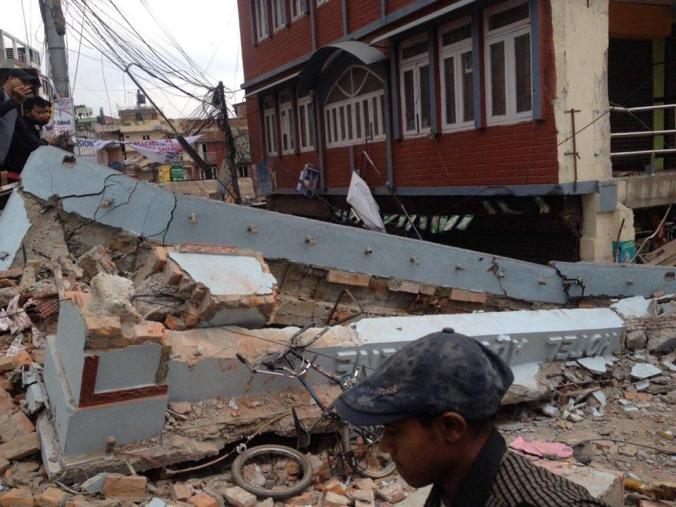 Building damage as a result of the earthquake