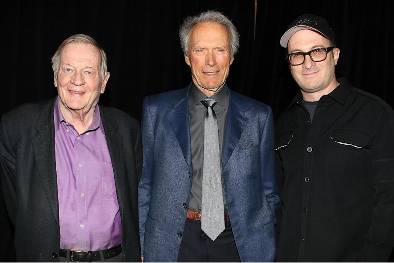 "This image released by Starpix shows Richard Schickel , left, and directors Clint Eastwood, and Darren Aronofsky at the Tribeca Talks Directors Series in New York on Saturday, April 27, 2013. In a wide-ranging interview Saturday about film directing at the Tribeca Film Festival, Eastwood said he admires the 104-year-old Portuguese director Manoel de Oliveira. Said Eastwood: ""It would be great to be 105 and still making films."" He laughed and called such a hope ""the ultimate optimism."" The director joined fellow filmmaker Darren Aronofsky for a staged conversation at the New York film festival following a screening of Richard Schickel's documentary: ""Eastwood Directs: The Untold Story."" (AP Photo/Starpix, Dave Allocca)"