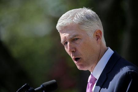 FILE PHOTO: Judge Neil Gorsuch speaks after his swearing as an associate justice of the Supreme Court in the Rose Garden of the White House in Washington