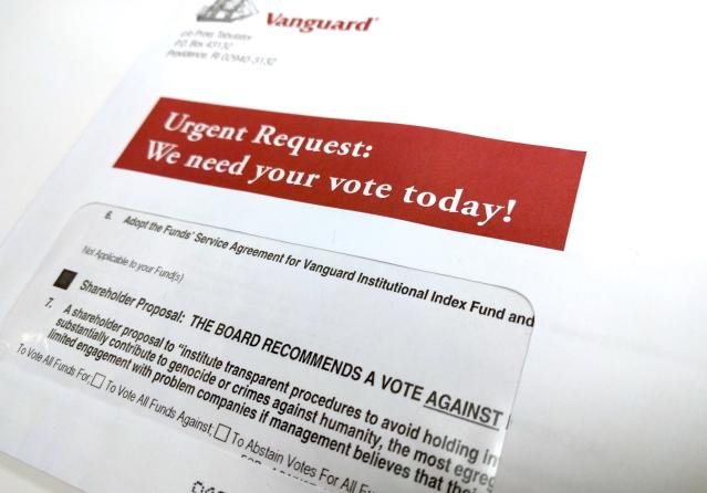 "Vanguard's proxy ballot may throw some investors. Its board asks investors to vote ""against"" restricting investing in companies that ""substantially contribute"" to genocide. (Yahoo Finance)"