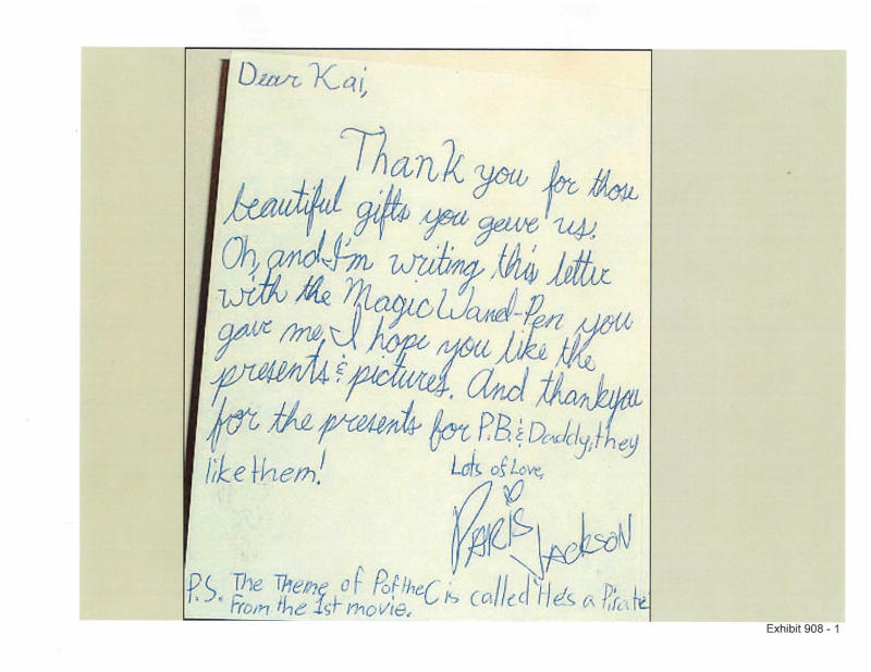 This handout photo released by the LA Superior Court and presented as evidence shows an undated thank you note from 2009 written by Paris Jackson to chef Kai Chase, thanking her for gifts bought for the family at Disneyland. Chase testified on Tuesday, June 18, 2013, about the lives of Michael Jackson's children and their father's devotion to them. Her recollections came in a trial in Los Angeles being pursued by Jackson's mother, Katherine Jackson, against concert giant AEG Live LLC, claiming the company failed to properly investigate the doctor convicted of giving the superstar a fatal dose of the anesthetic propofol in 2009. (AP Photo/LA Superior Court)