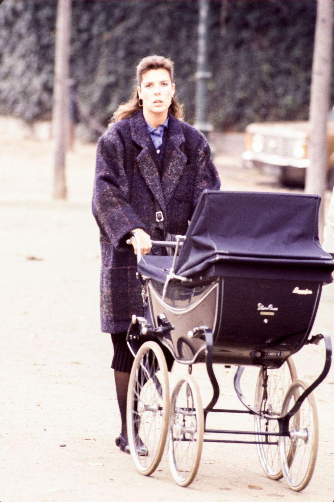 <p>Princess Caroline took her infant son Andrea for a walk in the park in the fall of 1984.</p>