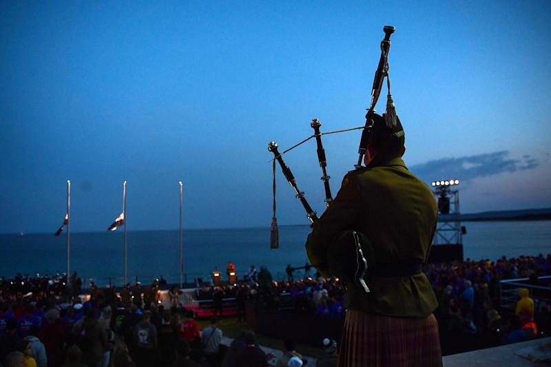 Remembrance: People attend an Anzac Day dawn service in Canakkale, Turkey (AFP/Getty Images)