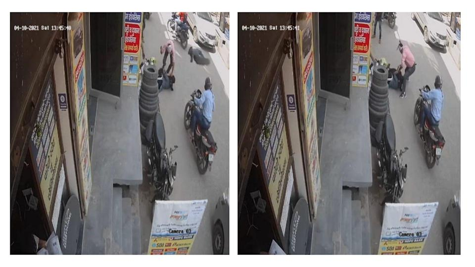 The CCTV footage, which went viral, shows the man stabbing the woman even after she was dead, locals and the police said.