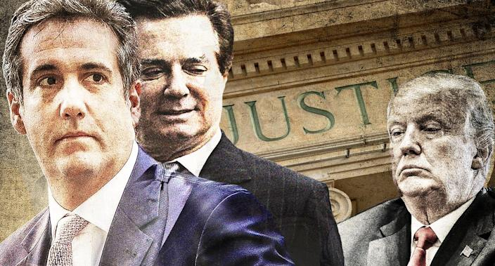 Michael Cohen, Paul Manafort and President Trump (Yahoo News photo illustration; photos: AP, Getty)