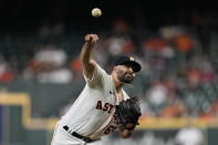 Houston Astros starting pitcher Jose Urquidy throws against the Tampa Bay Rays during the first inning of a baseball game Tuesday, Sept. 28, 2021, in Houston. (AP Photo/David J. Phillip)
