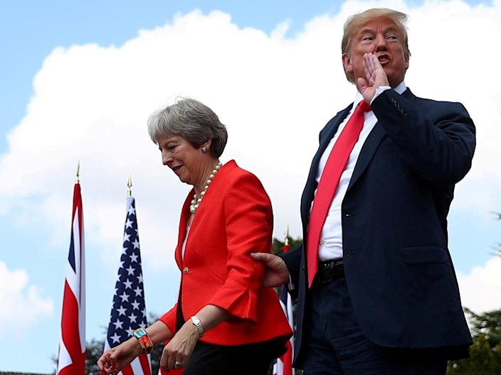 <p>Former US president Donald Trump and former UK prime minister Theresa May in 2018</p> (REUTERS)