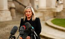 Deputy First Minister of Northern Ireland Michelle O'Neill speaks to the media as she extends her condolences at Belfast City Hall