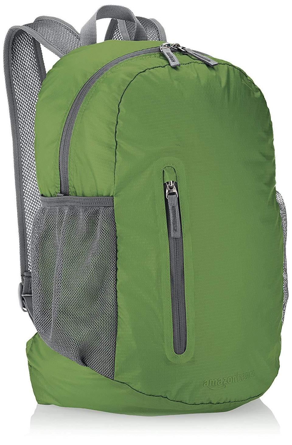 """<h3>AmazonBasics Ultralight Portable Packable Day Pack</h3> <br>This affordable Amazon pick won't slow you down on your most lengthy nature walks, while also. being durable (and roomy) enough to fit all your hiking essentials.<br><br><strong>AmazonBasics</strong> Ultralight Portable Packable Day Pack, $, available at <a href=""""https://amzn.to/31mkqL6"""" rel=""""nofollow noopener"""" target=""""_blank"""" data-ylk=""""slk:Amazon"""" class=""""link rapid-noclick-resp"""">Amazon</a><br>"""