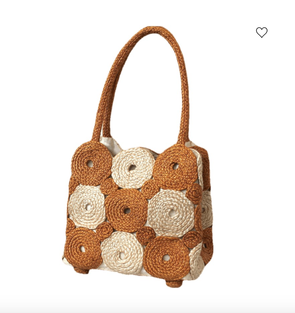 """<p><strong>Cynthia Rowley</strong></p><p>shopthrilling.com</p><p><strong>$75.00</strong></p><p><a href=""""https://shopthrilling.com/collections/all/products/90s-camel-and-beige-circular-pattern-straw-purse-by-cynthia-rowley"""" rel=""""nofollow noopener"""" target=""""_blank"""" data-ylk=""""slk:Shop Now"""" class=""""link rapid-noclick-resp"""">Shop Now</a></p><p>A vintage shoulder bag like this ensures no one else will be wearing the same accessory. Loving the two-tone colors! </p>"""