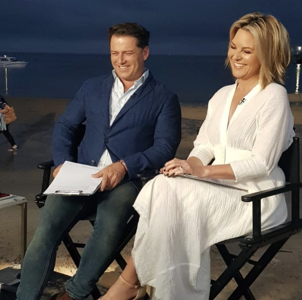 Georgie shared this candid moment with then-co-host Karl Stefanovic in December 2018, shortly before he was axed. Photo: Instagram/georgiegardner9.