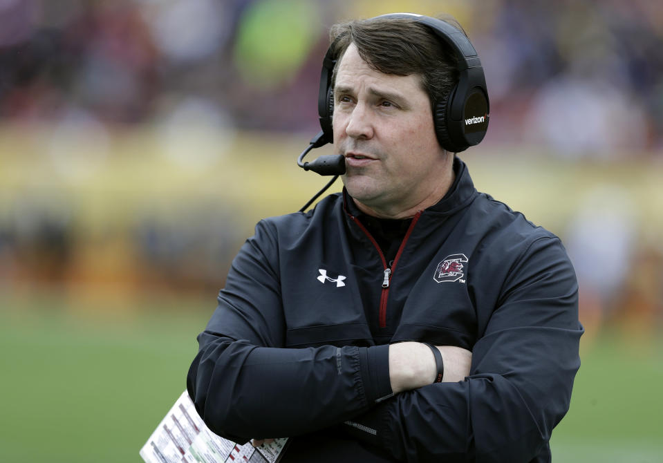 Will Muschamp goofed on his former boss, Nick Saban, after a successful trip to the lake. (AP Photo/Chris O'Meara, File)