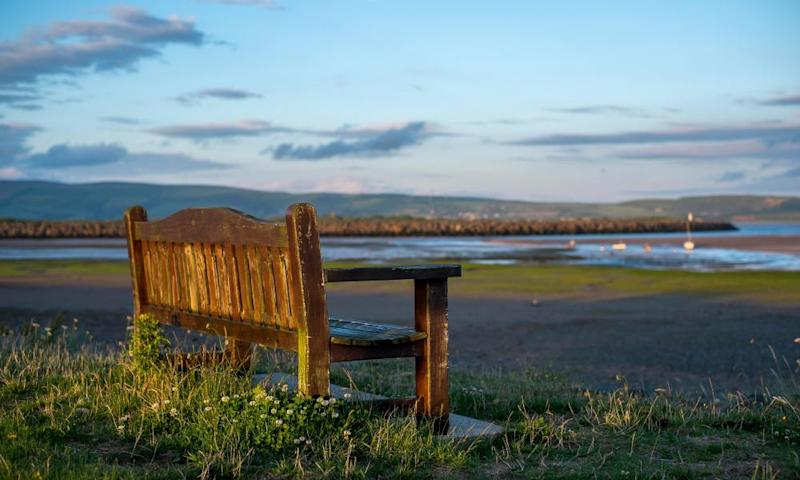 A bench overlooking the beach in Haverigg, Cumbria