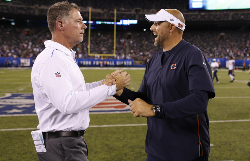New York Giants head coach Pat Shurmur, left, greets Chicago Bears head coach Matt Nagy after a preseason NFL football game, Friday, Aug. 16, 2019, in East Rutherford, N.J. The Giants won 32-13. (AP Photo/Adam Hunger)