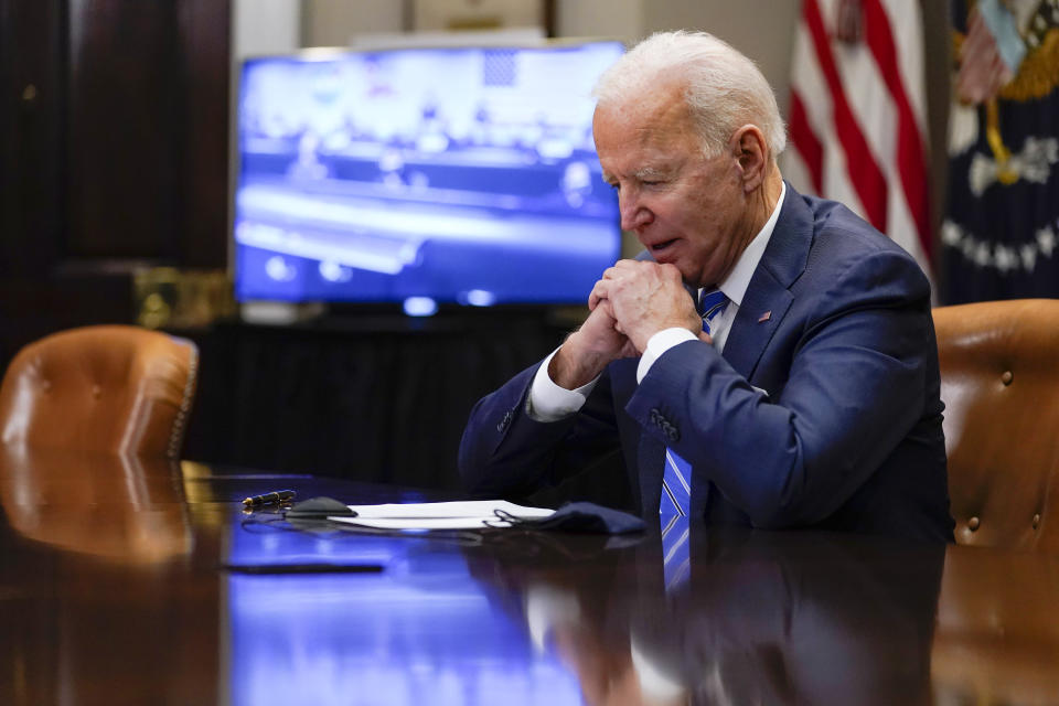 President Joe Biden speaks with NASA's Jet Propulsion Laboratory Mars 2020 Perseverance team, after congratulating them for successfully landing on Mars, during a virtual call in the Roosevelt Room at the White House, Thursday, March 4, 2021. (AP Photo/Andrew Harnik)