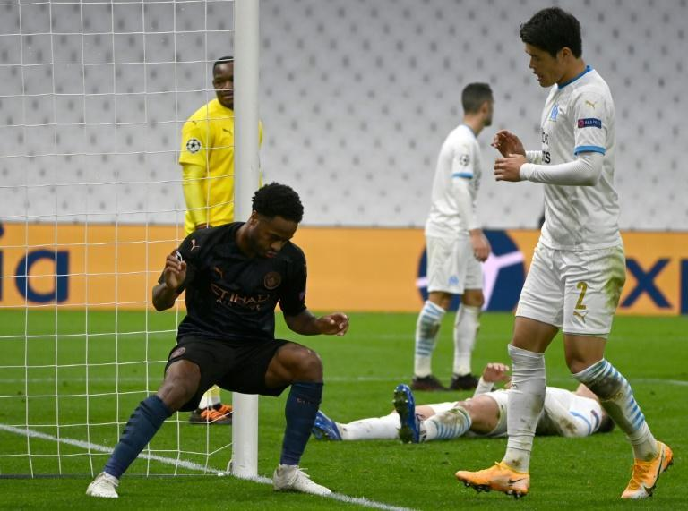 Raheem Sterling scored City's third at the Stade Velodrome