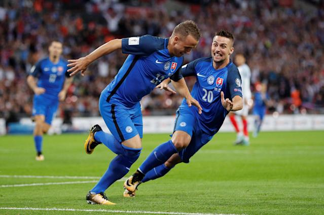 <p>Soccer Football – 2018 World Cup Qualifications – Europe – England vs Slovakia – London, Britain – September 4, 2017 Slovakia's Stanislav Lobotka celebrates scoring their first goal with Robert Mak (R) REUTERS/Darren Staples </p>