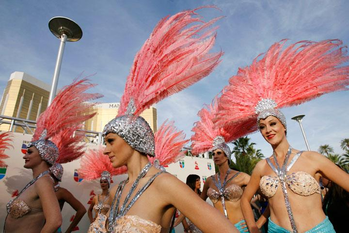 Showgirls from the Folies Bergere arrive at the 8th annual Latin Grammy Awards in Las Vegas Mario Anzuoni / Reuters