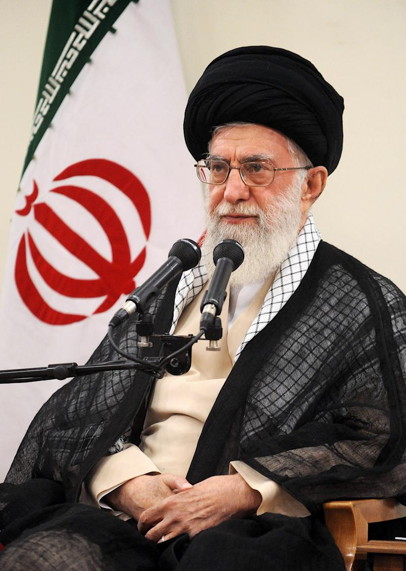 A handout photo provided by the office of Iran's supreme leader Ayatollah Ali Khamenei shows him addressing members of the Assembly of Experts during a meeting in Tehran on September 4, 2014