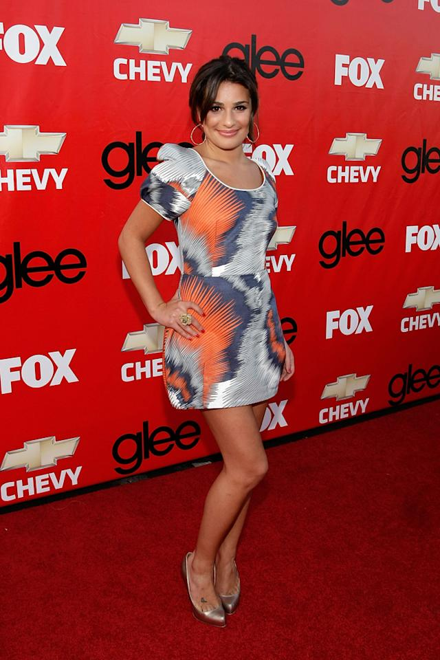 "Lea Michele attends the premiere of Fox's ""Glee"" at Willows Community School on September 8, 2009 in Culver City, California."