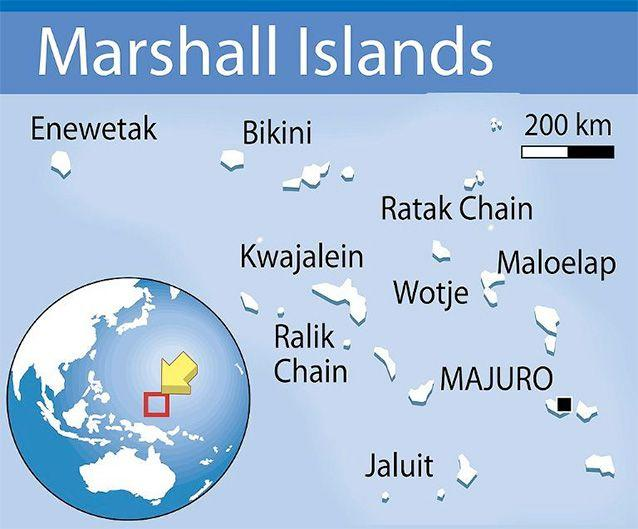 Map locating the Marshall Islands, in the northern Pacific Ocean, which are home to barely 60,000 people spread over 24 atolls. Photo: AFP.