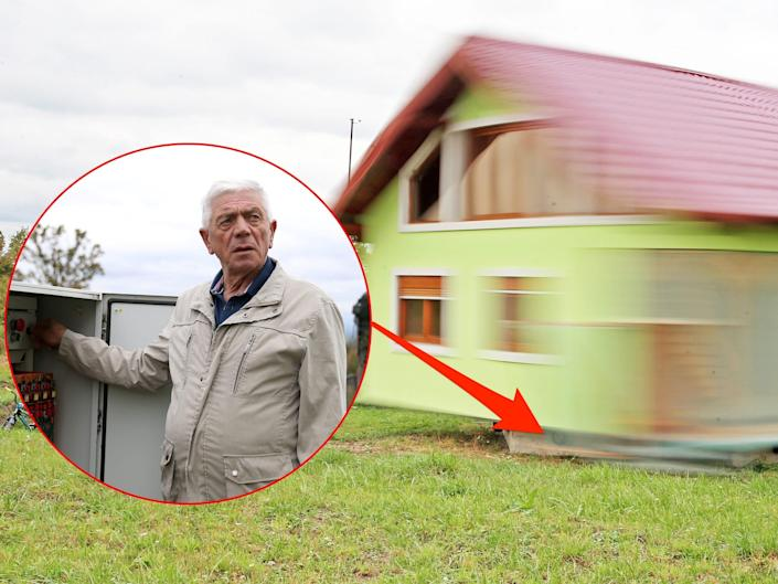 A man in the left corner presses a button that makes the green house rotate. An arrow points from the man pressing the button to the rotating house