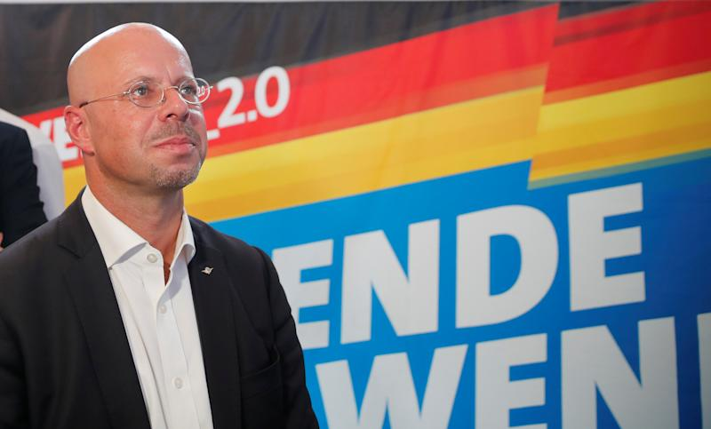 Alternative for Germany (AfD) top candidate for the Brandenburg election Andreas Kalbitz reacts for the first exit polls for the Brandenburg state election in Werder, Germany, September 1, 2019. REUTERS/Axel Schmidt
