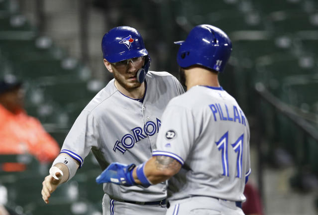 Toronto Blue Jays' Danny Jansen, left, greets teammate Kevin Pillar after Pillar scored on Rowdy Tellez's single in the second inning of a baseball game against the Baltimore Orioles, Monday, Sept. 17, 2018, in Baltimore. (AP Photo/Patrick Semansky)