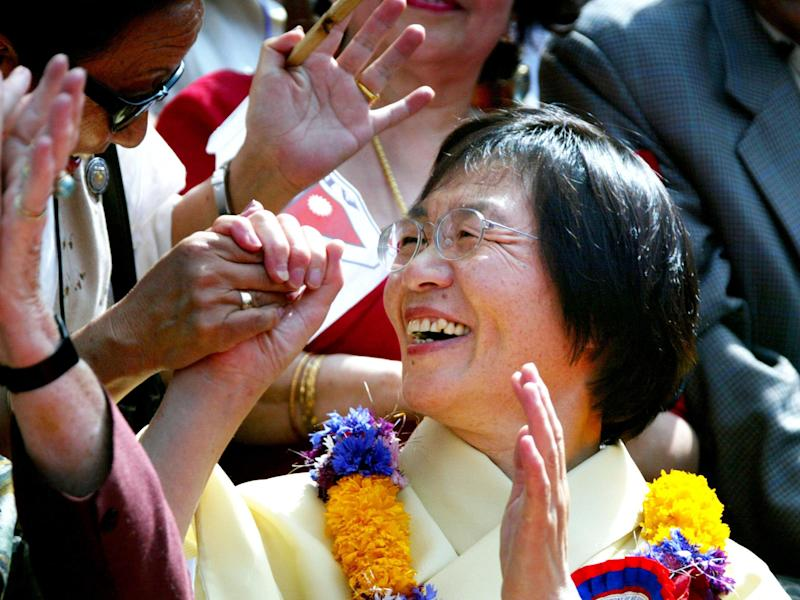 Junko Tabei, pictured in 2003, became the first woman to scale Everest in 1975: Getty Images