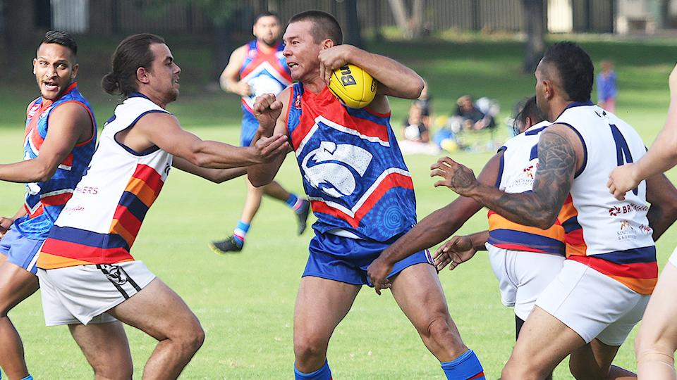 Ben Cousins, pictured here in action in the Metro Football League at Queens Park Reserve.