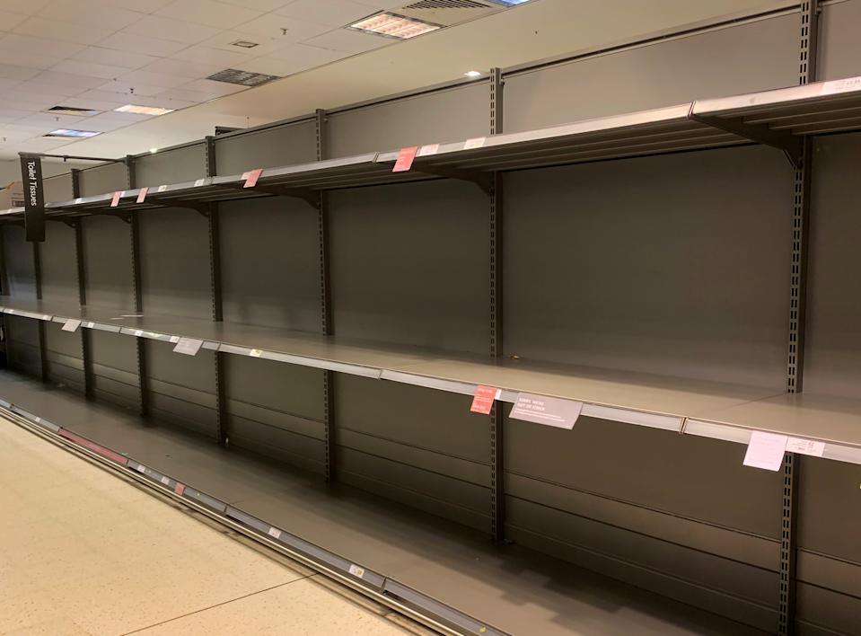 Empty shelves are seen at a supermarket in Canary Wharf, as the number of coronavirus cases grow around the world and as European stocks plunge into bear market territory, in London, Britain March 9, 2020.  REUTERS/Dylan Martinez