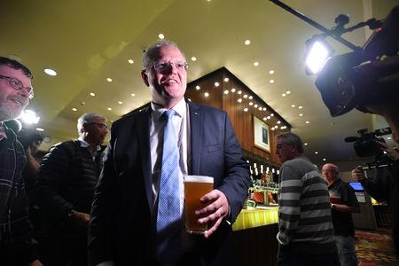 Australian Prime Minister Scott Morrison at the Bomaderry Bowling Club on the NSW South Coast, 150km south of Sydney, May 17, 2019.AAP Image/Mick Tsikas/via REUTERS