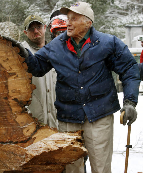 """FILE - In this Jan. 19, 2010 file photo, Frank Knight puts his hand on New England's tallest elm tree, known as """"Herbie,"""" after it succumbed to Dutch elm disease and was cut down in Yarmouth, Maine. Knight, who took care of the tree for five decades while working as the Yarmouth tree warden, died in Scarborough, Maine, Monday, May 14, 2012. He was 103. (AP Photo/Pat Wellenbach, File)"""