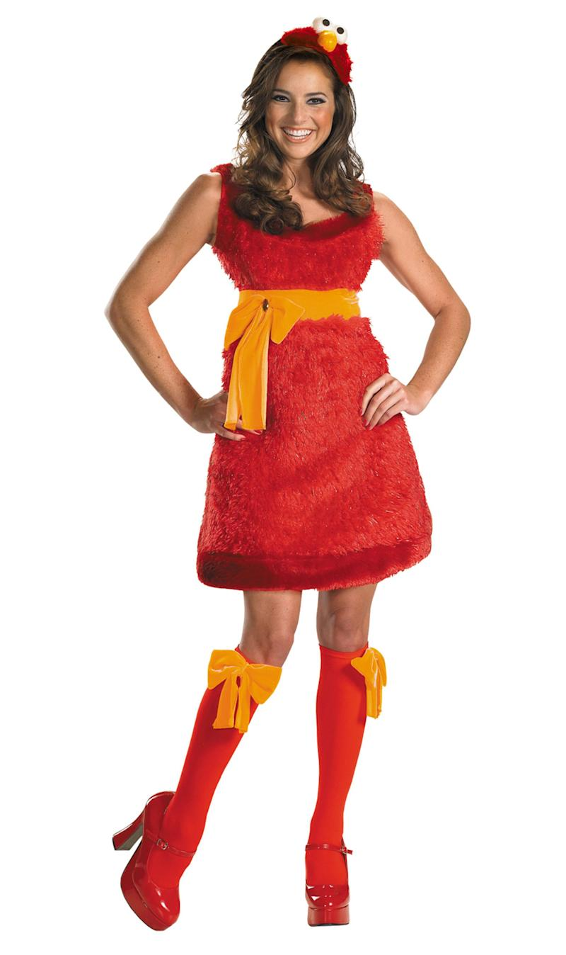 """This <a href=""""http://www.wondercostumes.com/elmo-sassy-costume-sesame-ptescss.html"""" target=""""_blank"""">Elmo costume</a> is the perfect kiddie-character-made-sexy costume for a shyer woman. It won't freak out the kids,but it's still playful. However, I still wonder if Elmo's pet goldfish, Dorothy, is hiding somewhere."""