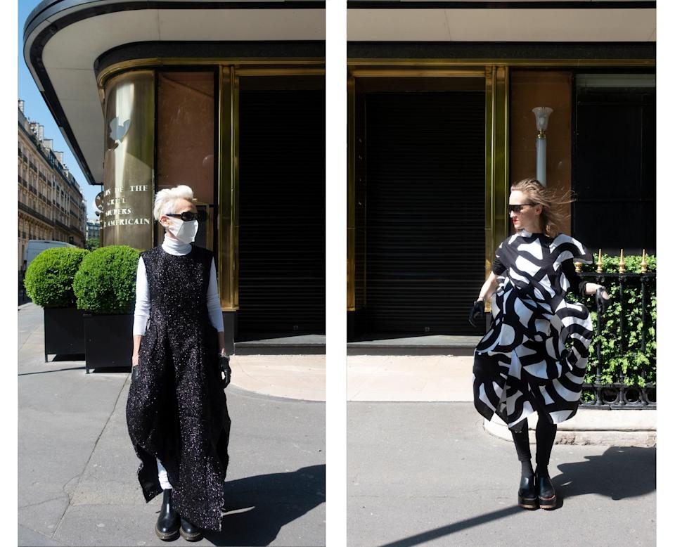 "<div class=""caption""> Wearing Comme des Garçons and Junya Watanabe in front of Le Relais Plaza restaurant. </div>"