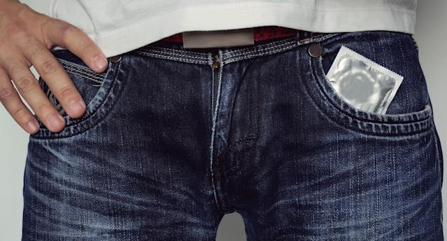 A man in blue jeans with a condom in his pants pocket. (Photo: Getty Images)